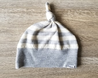 Best TODDLER Cashmere Beanie // 1-4 years // Gray Stripes // Upcycled Cashmere sweater // Kid Beanie // Knotted Beanie