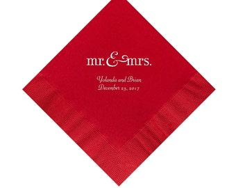 Mr. and Mrs. Wedding Napkins Personalized Set of 100 Napkins