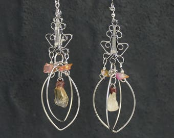 Quartz Earrings Gemstone Earrings rose quartz earrings crystal earrings pink earrings dangle earrings earrings stone earrings quartz jewelry