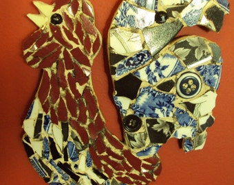 Colorful Pique Assiette Mosaic Rooster