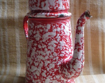 Enamel tin coffee pot marbled red and white french country french inspired kitchen utensil 1930-1940 kitchen decor made in France vintage