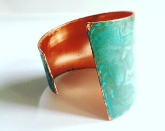 Asymmetrical Verdgris Copper Cuff