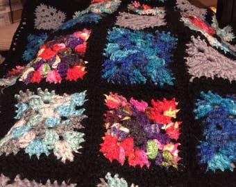 Lap blanket / granny square blanket / crocheted lap blanket / granny square afghan / colorful blanket / ready to ship