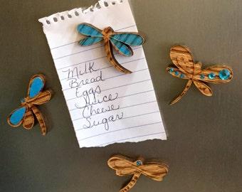 Blue Dragonfly Fridge Magnets - set of 4