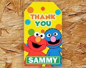 Sesame Street Thank You Tags, Sesame Street Thank You Card, Sesame Street Birthday Party, Favors, Gift