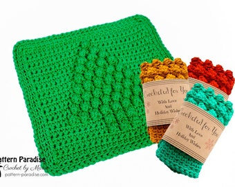 Crochet Pattern Christmas Tree Dishcloth, Dishtowel, Dish Cloth, Wash Cloth, Washcloth  PDF 17-353