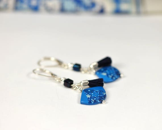 Blue, fan-shaped, pendant earrings with handmade patterns and dark blue tassel on sterling silver hooks 'Agathis'