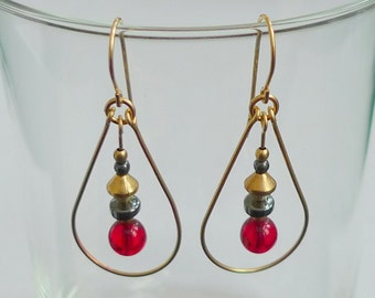 Red Glass Gold-Filled Teardrop Earrings