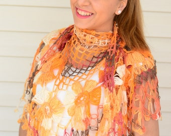 Crochet Shawl, Dahlia Flower Shawl, Triangle Shawl, Floral Fantasy, Spring Accessory, Mustard Yellow, Orange and Brown