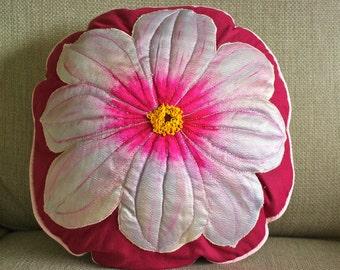 Original Round 'Pink Dahlia' Hand made Cushion (pillow)