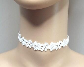 Cream Ivory Lace Choker Necklace Flower Rose Choker Gothic Choker Bridal Choker