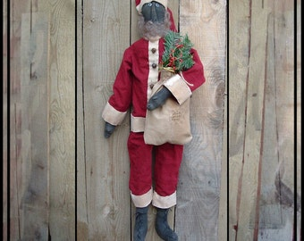 SALE mailed paper pattern Primitve black folk art rag doll painted Santa HAFAIR ofg faap Lucys Lazy Dayz 223