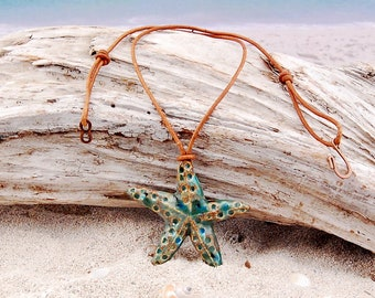 Starfish and Leather Necklace