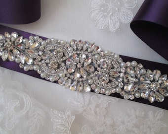 Eggplant Ultra Violet Purple Bridal Sash, Plum Purple Wedding Belt, Crystal Bridal Belt, Amethyst Sash Belt, Rhinestone-Diamond Wedding Sash