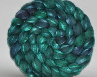 Grey Merino /Tussah Silk   70/30  Hand Painted Roving  5.18 ounces - Spring Time  Combed Top