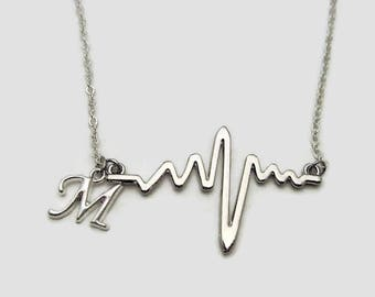 Heartbeat Necklace personalized  EKG Necklace EKG Letter Jewelry Heartbeat Jewelry Nurse Necklace Gift for Nurse Gift for doctor