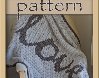PATTERN Crochet Love Afghan Chart Graph - PDF No. 110 - Instant Download