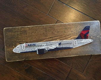 Delta Airbus A320 Airplane String Art Aviation