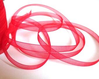 5 m organza Ribbon Red 6mm