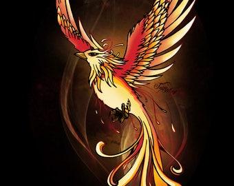 Map postcard Phoenix / Fawkes Harry Potter