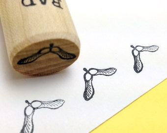 Polynose Rubber Stamp,  Maple seed, Whirlibird, whirligig, helicopter, spinning jenny, samara, Autumn Peg Stamp