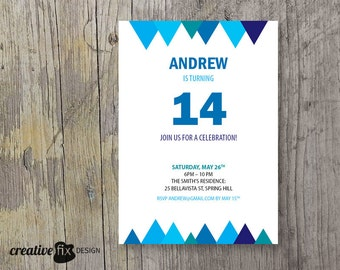 Minimalist Birthday invitation Geometric invite Blue bunting invitation Pink teen party invite white simple invitation Genre neutral invite