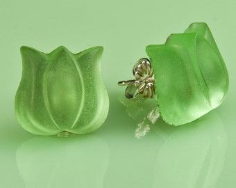 Vintage Frosted Green Glass Tulip Button Post Earrings