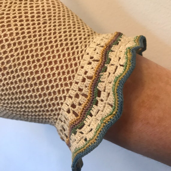 vintage crochet gloves natural cotton handmade lace shorties wrist length colourful trim size 6 vintage bridal wedding bridesmaid 30s 40s