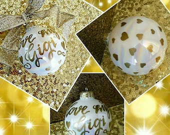 Painted Glass Calligraphy Christmas Ornaments - Personalized Ornaments, Customizable Christmas Ornaments, Colorful