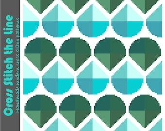 Geometric cross stitch design. Modern cross stitch pattern. Contemporary embroidery chart. Minimalist retro cross stitch in blue and green.