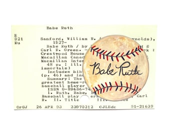 Babe Ruth Baseball on Library Card - Print of my painting of a signed baseball on a library card for the book Babe Ruth