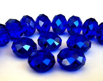 16 cobalt blue 10mm beads, Chinese crystal, 10mm x 7mm royal blue rondelles