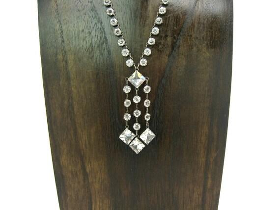 Vintage 1920s Art Deco Crystal Fringe Lavalier Necklace