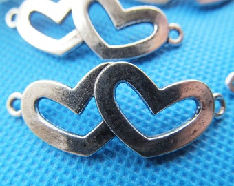 15.6mmx40.7mm Antique Silver tone/Antique Bronze Double Heart Frame Connector Pendant Charm Finding,for Bracelet and Necklace,DIY Accessory