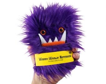 Worry Woolie children's Notebook, small furry magical purple orange monster journal