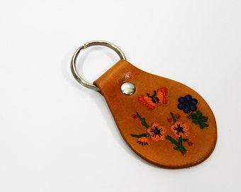 Hand Painted Butterfly Flower Leather Key Fob, Leather Keyring, Leather Keychain, Leather Key Holder Orange Red Blue