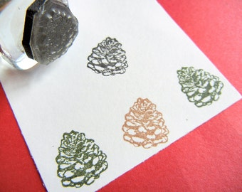 Pinecone (Style 2) Rubber Stamp - Handmade rubber stamp by BlossomStamps