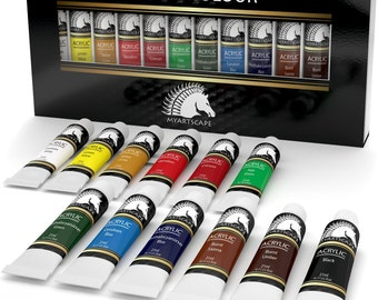 12x21ml Acrylic Paint Set- Artist Quality Paints for Painting on Canvas- Professional Art Supplies by MyArtscape