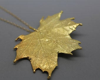 Gold Maple Leaf Necklace/Pin