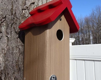 Modern Bluebird house, PVC Cedar Bird house fully functional virtually maintenance free post mount hanging birdhouse new design unique