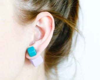 Dark Mint and Pale Purple Earrings, Tribal Earrings, Double Sided Earring, Polymer Clay Earrings, Fake Gauge Earrings, Big Stud Earrings