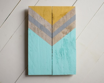 Chevron Wood sign, Reclaimed Wood sign, pallet sign