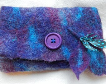 Felted Pouch purse Blue and Purple Nuno felted on chiffon