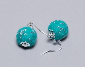 Felt Earrings - Felt Ball Earrings - Unique Earrings - Unique Gift - Mothers Day Gift - Silver Plated Earrings - Teal Embroidered Earrings