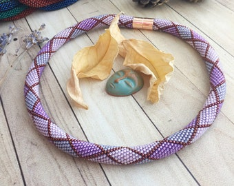 Short Shades of Violet and Purple Geometry Crocheted Bead Rope Necklace with Pattern, Toho Seed Bead Knitted Lariat