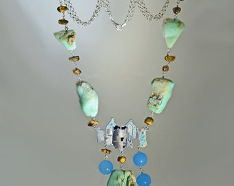 """Necklace in silver and chrysoprase """"Cliff of Ireland"""""""