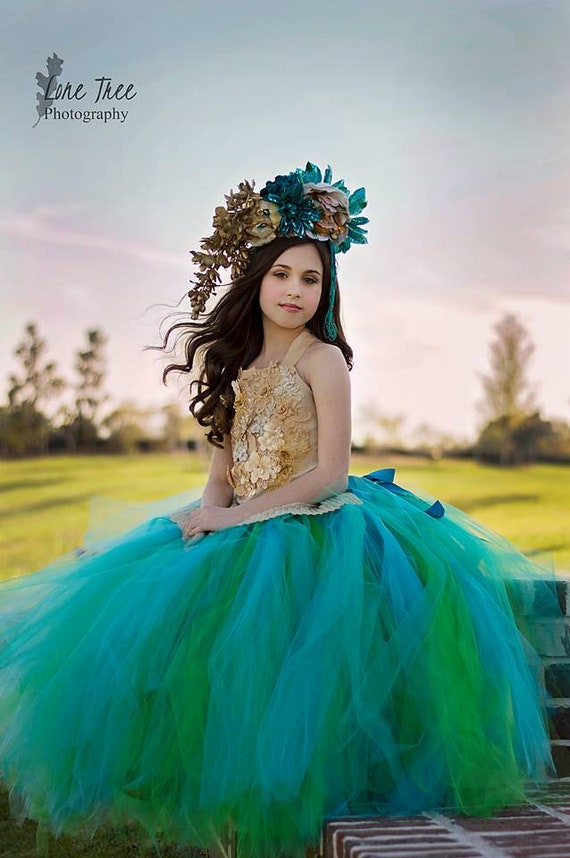 Teal and Gold Dress Turquoise Flower Girl Dress Wedding Dress  Gold Dress Birthday Dress Toddler Green Dress Girl Dress Wedding Dress