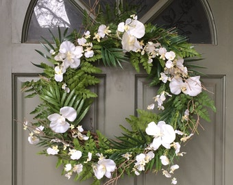 Tropical grapevine floral wreath with orchids, year round front door wreath, door wreath, spring wreath, summer wreath, orchid wreath