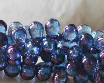 6x4mm Glass Teardrop Beads - Jewelry Making Supply -  Amethyst Luster (100 Drops)