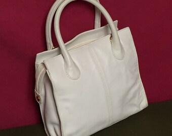 Vintage Giani Bernini, White Leather Handbag,